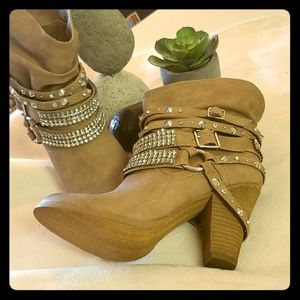 Leather Western Style Ankle Booties